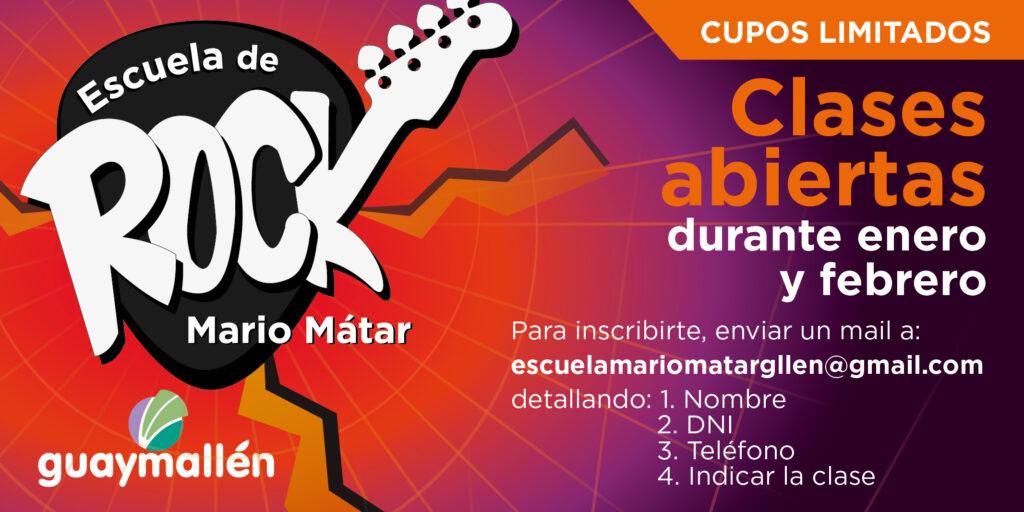 La Escuela de Rock Mario Mátar ofrecerá clases abiertas gratuitas
